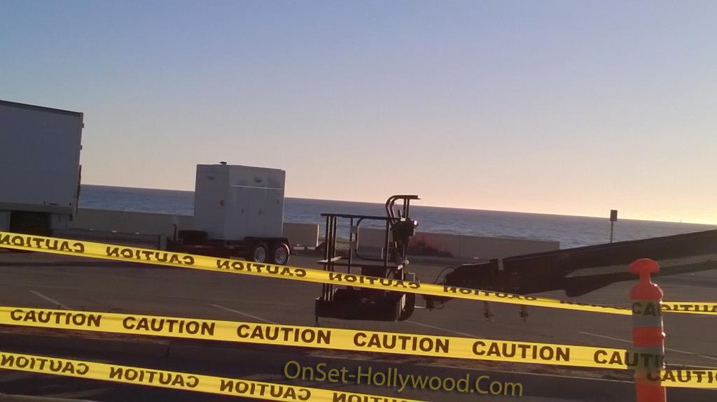 TBS's Angie Tribeca filming-in malibu beach.